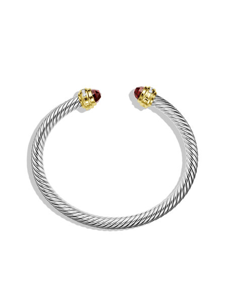 Cable Classics Bracelet with Garnet and Diamonds with Gold