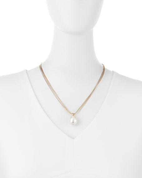 White Pearl and Tri-Toned Necklace
