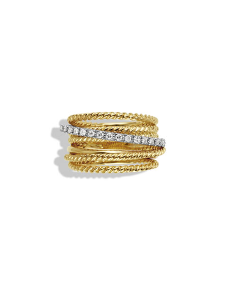 Crossover Wide Ring with Diamonds in Gold