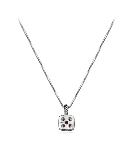 Petite Albion Pendant with Pyrope Garnet and Diamonds on Chain