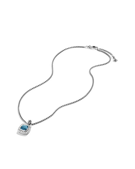 Petite Albion Pendant with Blue Topaz and Diamonds on Chain