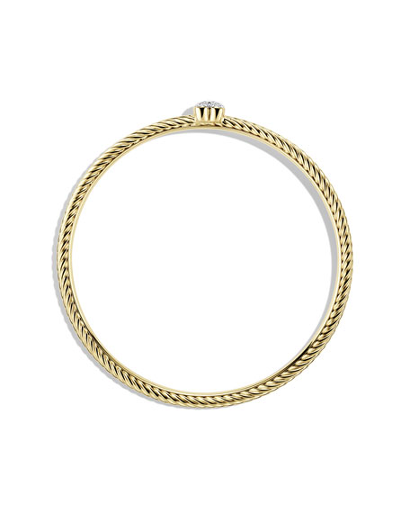 Cable Heart Bangle with Diamonds in Gold