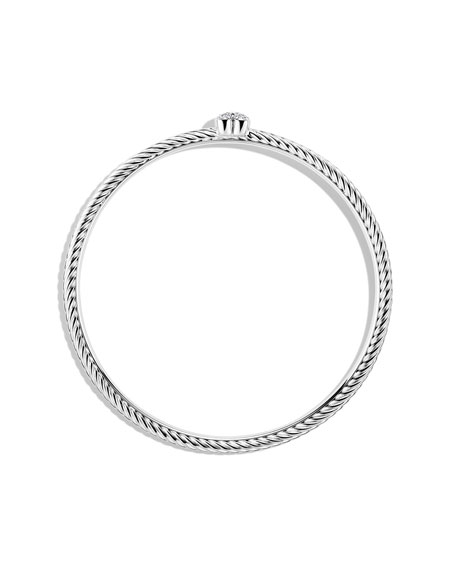 Cable Heart Bangle with Diamonds