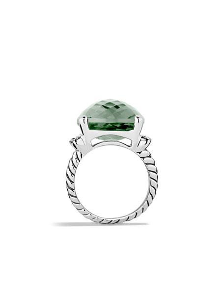 Wheaton Ring with Prasiolite and Diamonds