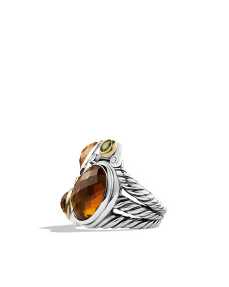 Mosaic Ring with Cinnamon Quartz, Citrine, and Diamonds and Gold