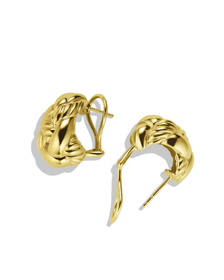 Woven Cable Earrings in Gold