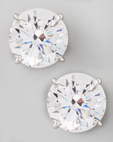 Fantasia by DeSerio Round Cubic Zirconia Stud Earrings,