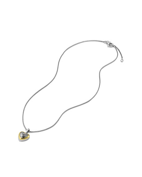 Cable Heart Pendant with Gold on Chain
