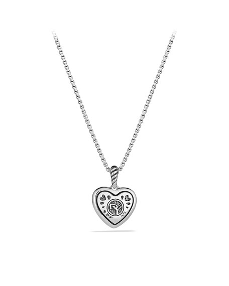 Cable Heart Pendant with Diamonds on Chain