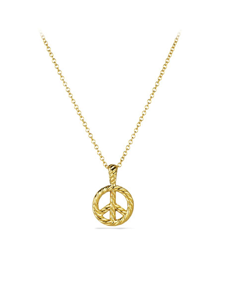 Cable Collectibles Peace Sign Pendant with Diamonds in Gold on Chain