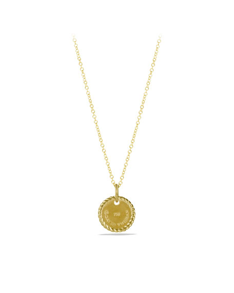 """E"" Pendant with Diamonds in Gold on Chain"