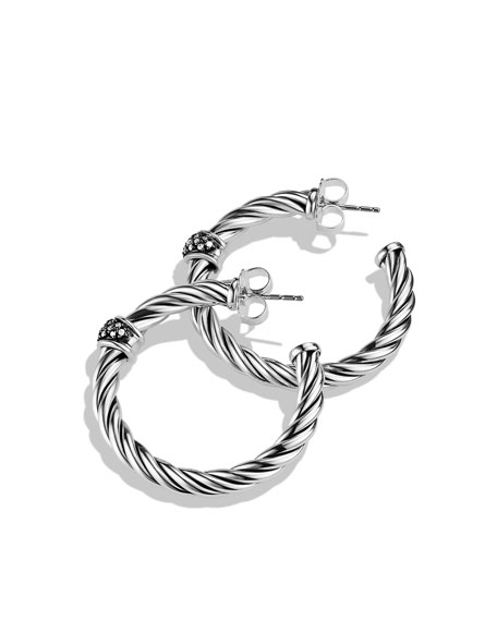 Cable Classics Hoop Earrings with Diamonds