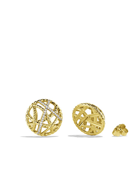 Lattice Earrings with Diamonds in Gold