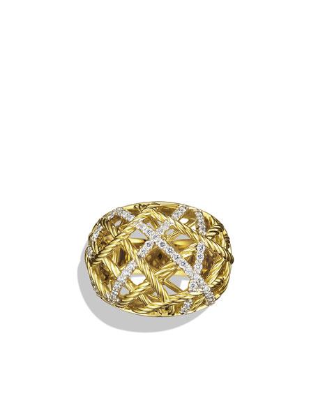 Lattice Small Dome Ring with Diamonds