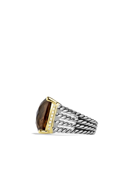 Wheaton Ring with Smoky Quartz, Diamonds, and Gold