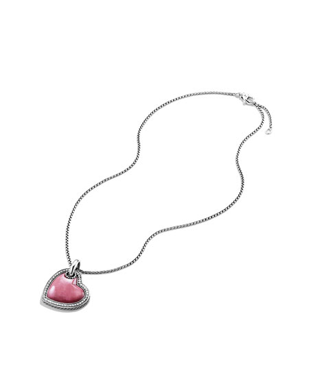 Cable Heart Pendant with Deep Rhodonite on Chain