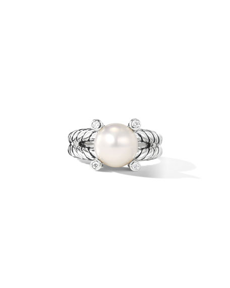 Image 4 of 5: David Yurman Cable Pearl Ring with Diamonds
