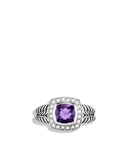 Petite Albion Ring with Amethyst and Diamonds