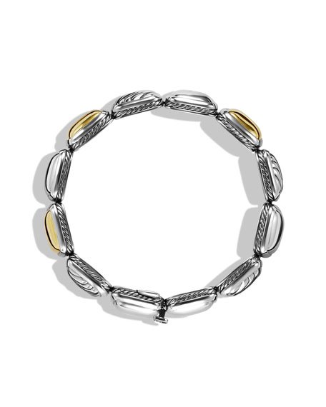 Chiclet One-Row Bracelet with Gold