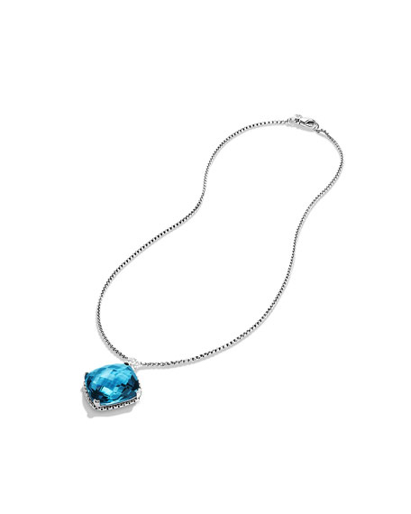 Cushion on Point Pendant with Hampton Blue Topaz and Diamonds on Chain