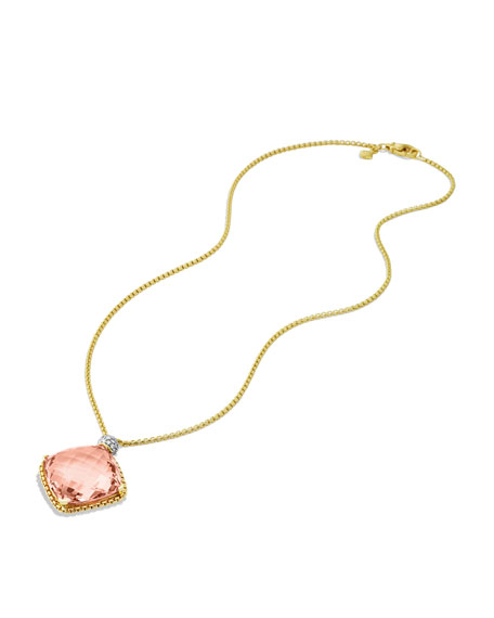 Cushion on Point Pendant with Morganite and Diamonds in Gold on Chain