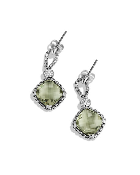 Cushion on Point Earrings with Prasiolite and Diamonds