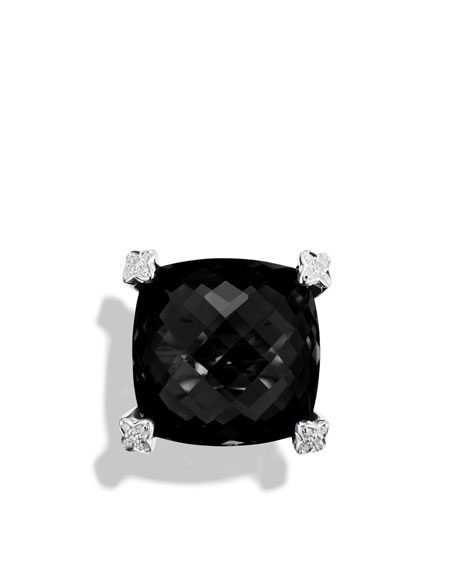 Cushion On Point Ring with Black Onyx and Diamonds