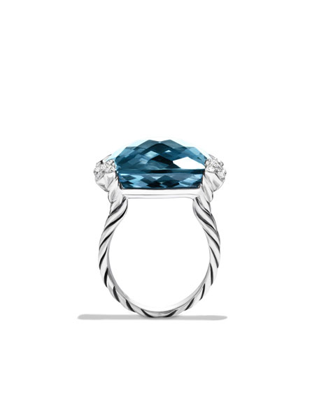 Cushion On Point Ring with Hampton Blue Topaz and Diamonds