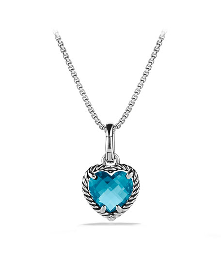 Cable Heart Pendant with Hampton Blue Topaz