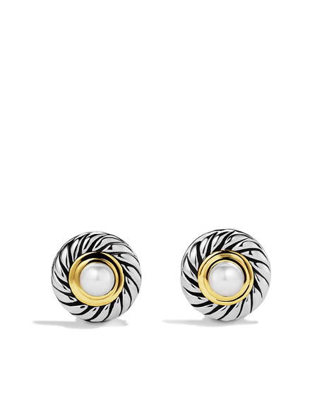 Cable Pearl Earrings with Gold