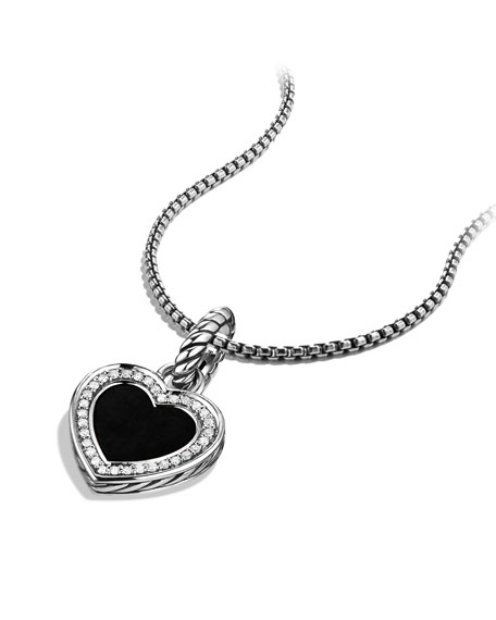Cable Heart Charm with Black Onyx and Diamonds