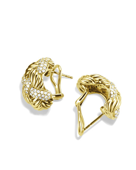 Woven Cable Earrings with Diamonds in Gold