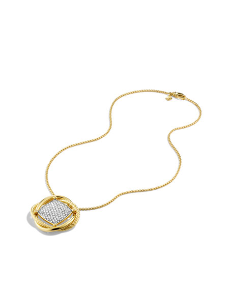 Infinity Large Pendant with Diamonds in Gold on Chain
