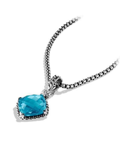 Cushion on Point Pendant with Hampton Blue Topaz and Diamonds