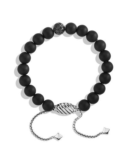 Spiritual Beads Black Onyx Bracelet with Black Diamonds