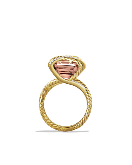 Cable Wrap Ring with Morganite and Diamonds in Gold