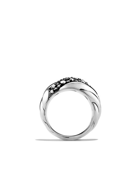 Sculpted Cable Wide Ring with Diamonds