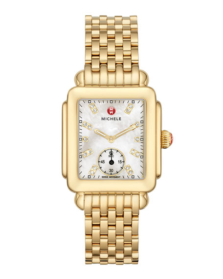 16mm Deco Diamond Dial Watch Head, Gold