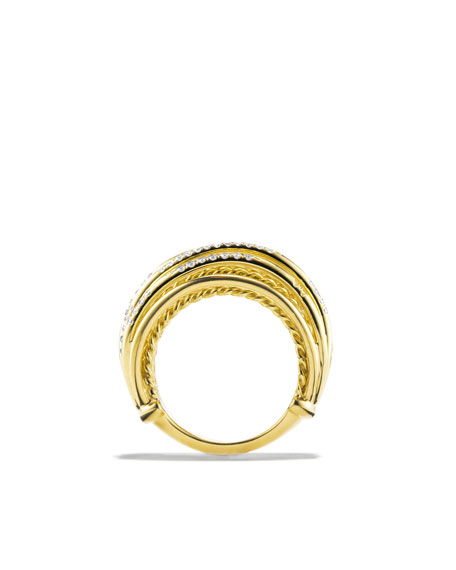 Cable Threads Ring with Diamonds in Gold