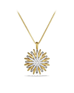 David Yurman Starburst Large Pendant with Diamonds in Gold on Chain