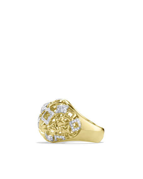 Quatrefoil Large Dome Ring with Diamonds in Gold