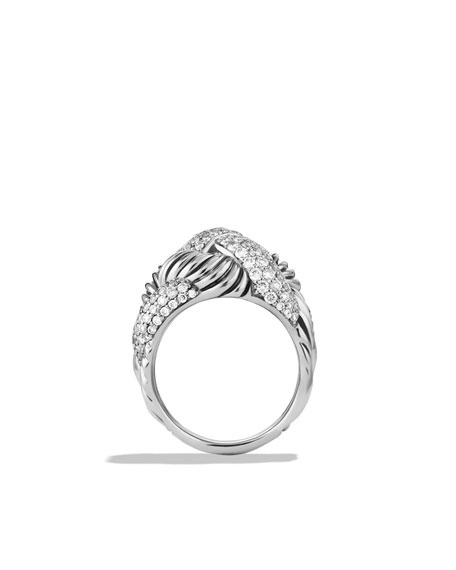 Woven Cable Wide Ring with Diamonds