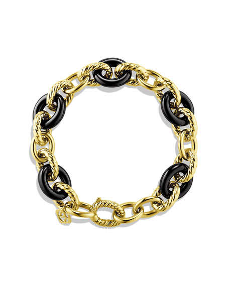 Oval Link Bracelet, Black Ceramic