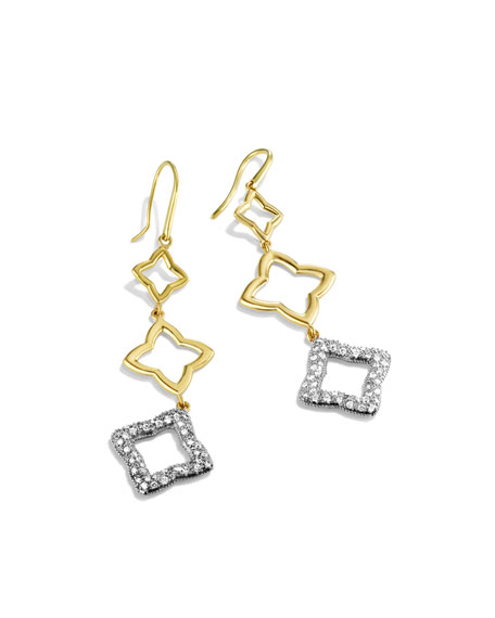 Quatréfoil Triple-Drop Earrings with Diamonds in Gold