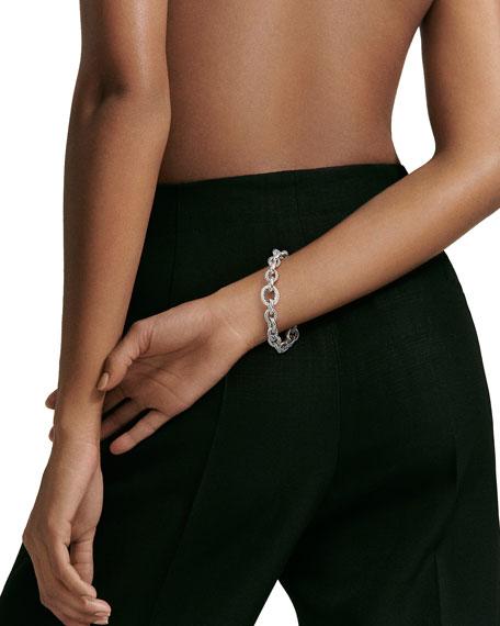 Oval Large Link Bracelet with Diamonds