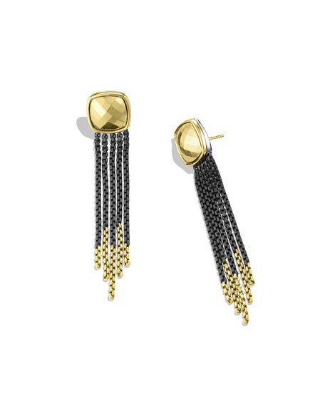 Black & Gold Chain Tassel Earrings with Gold Domes