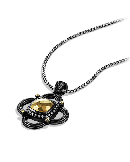 Albion Half Moon Pendant with Gold Dome and Diamonds