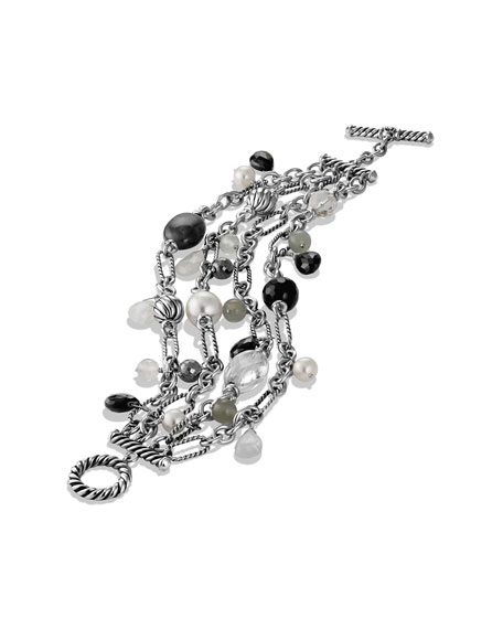 Bead Four-Row Chain Bracelet with Black Onyx and Pearls
