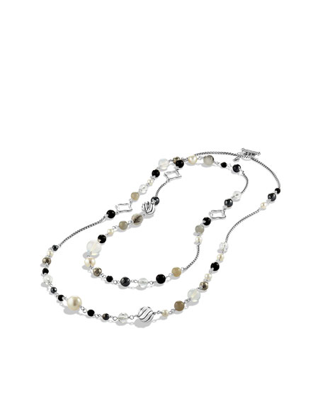 Bead Necklace with Black Onyx and Crystal