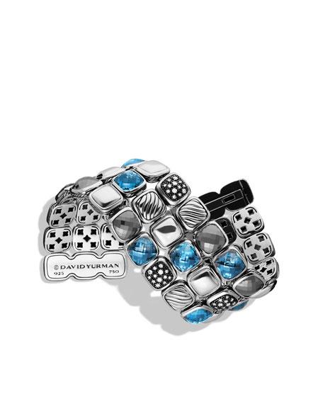 Chiclet Three-Row Bracelet with Hampton Blue Topaz, Hematine, and Diamonds